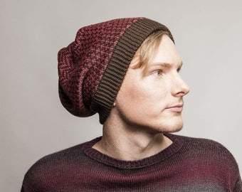 Knitted mens hat - reversible knitted slouchy beanie for men brown red unisex hat winter gift for him