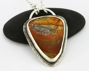 Handcrafted Sterling Silver and Red Creek Jasper Pendant Abstract Landscape Natural Stone Design Contemporary Artisan Jewelry 24796390122816