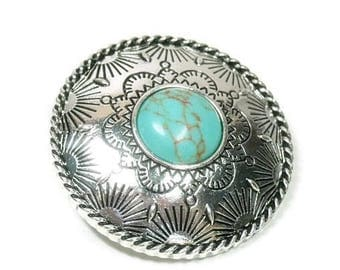 Sale| Stamped Turquoise Concho Pendant - Clip On - Interchangeable Magnetic Pendant - Stamped Western Magnetic Pendant - Cowgirl - Southwest