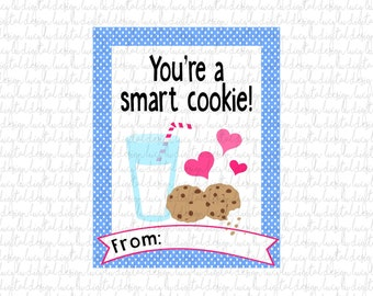SMART COOKIE Valentine Cards-Chocolate Chip - Kids Valentine Cards- Valentine Cards- DIY Printable Valentine Cards