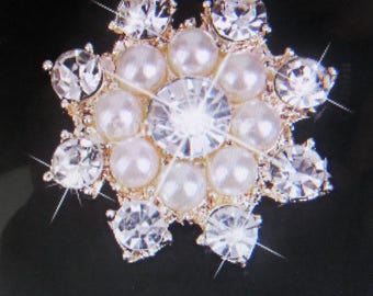 Round pearl rhinestone flat back buttons, rhinestone buttons, wedding buttons
