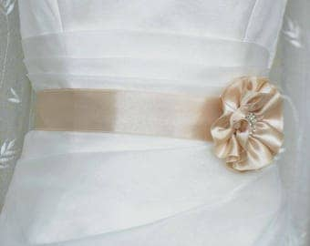 Handcraft Champagne Satin Flower Wedding Dress Bridal Sash Belt