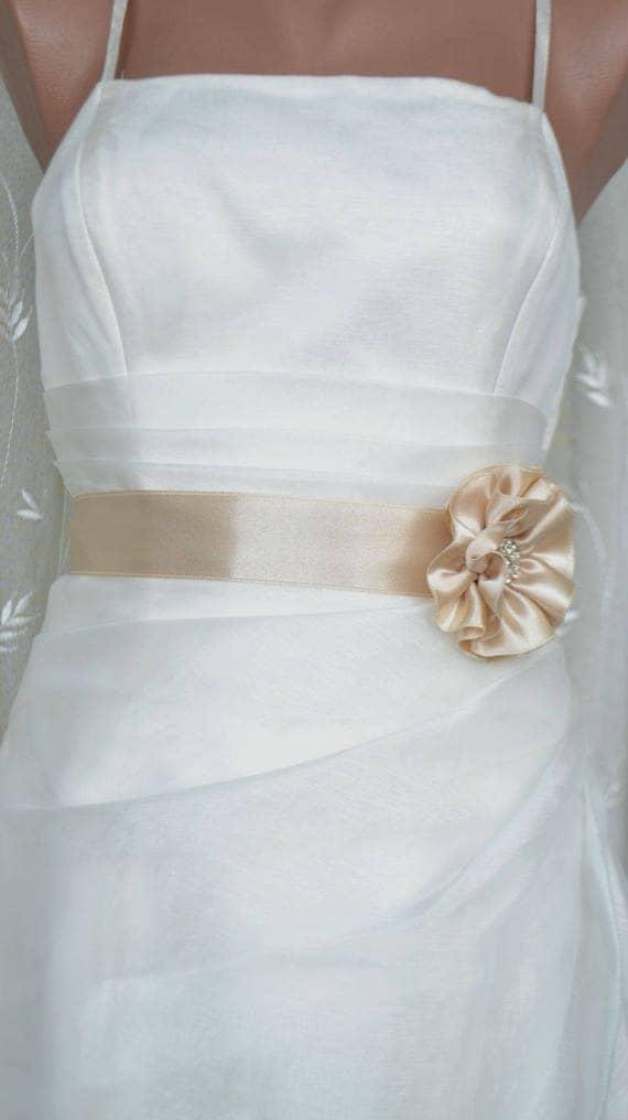 Handcraft Champagne Satin Flower Wedding Dress Bridal Sash Belt