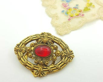 ART Signed  Red  Glass Scarf Clip and Brooch