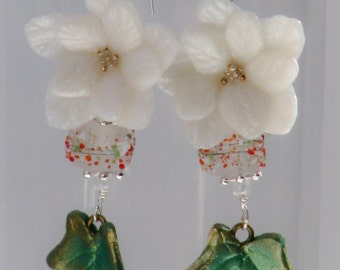 Poinsettia and Ivy Dangle Earrings - Christmas festive seasonal holidays floral unique handcrafted dangle