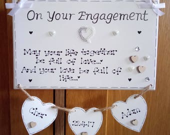 Personalised On Your Engagement Gift Plaque, Engaged, Couple, Congratulations, Wedding Keepsake, Life Together, Hearts, Love, Custom Sign