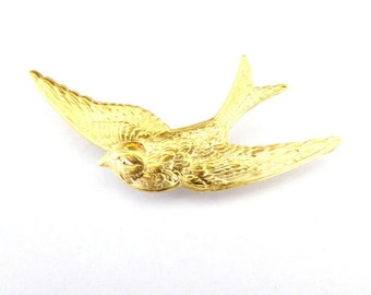 Rustic Wedding Boutonniere Groomsmen Mens Accessories Gold Bird Brooch Swallow Lapel Pin Nature Forest Woodland Garden Womens Gift For Her