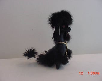 Vintage Leather And Fur Black French Poodle Stuffed Animal Dog  17 - 582