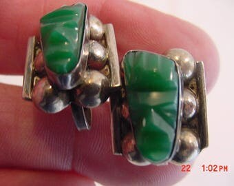 Vintage Sterling Silver & Green Onyx Mexico God / Idol Screw On Earrings 17 - 689