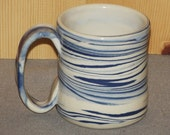 Original Pottery Coffee Cup Hand Thrown using blue and white clays..... Agateware 12 oz
