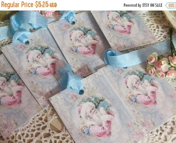 ON SALE Victorian Pink and Aqua  Christmas Tags-with vintage Seam Binding Ties-Set of 6-ATC