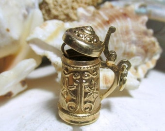 Valentines Sale 14k Gold Beer Stein Charm 3D Movable Mechanical 2.75g