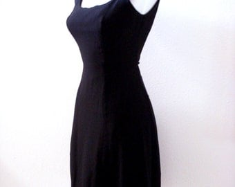 Vintage 60s Black Crepe Dress - 1960s Black Sleeveless Dress with Metal Zipper - Vintage Black Dress - Size X Small