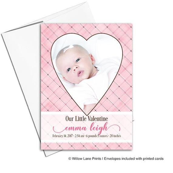 valentine birth announcement card
