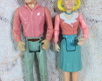 1990s Playskool Dollhouse People Mom and Dad Man and Woman Used