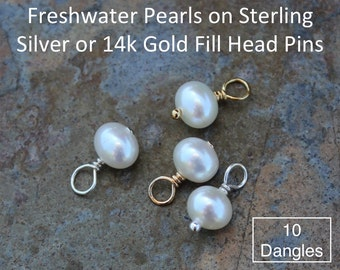 Ten (10) 5mm - 6mm white freshwater potato pearl charms drops - Sterling silver or 14k gold fill wire wrapped dangles - closed loop