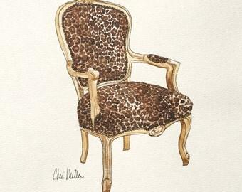 Leopard Chair, Furniture sketch, Chair Illustration, Interior Design, interiors