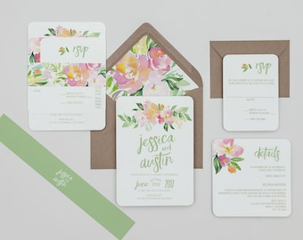 Boho Rustic Blush and Peach Floral Wedding Invitations, Pastel Floral Wedding Invites,Rustic Blush Wedding Invitation,Spring Wedding Invite