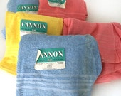 CANNON TOWELS 1940s Set 10 PINK Blue Yellow 1950s deadstock