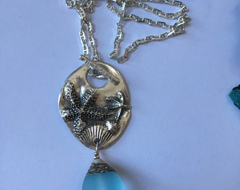 A Walk on The Beach- 999 Fine Silver - Hand created - OOAK -  Seashell-Startfish pendant with Sterling silver Anchor Chain