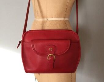 30% OFF SALE... Etienne Aigner leather messenger purse   carmine red large buckle bag