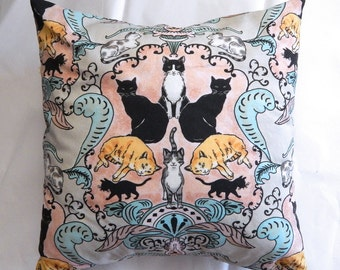 Cats and Kittens Damask Style 12 x12 Inch Pillow in Pink Teal and Gray