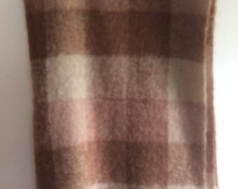 Hudson Bay Scottish Vintage Mohair Wool Brown Color Block Plaid Throw