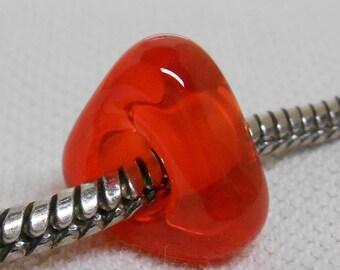 Handmade Lampwork Bead Large Hole European Charm Bead Transparent Orange Triangle Shaped Lampwork Bead