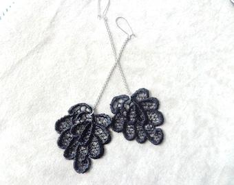 Black dangle earrings, lace earrings, silver black earrings, long earrings