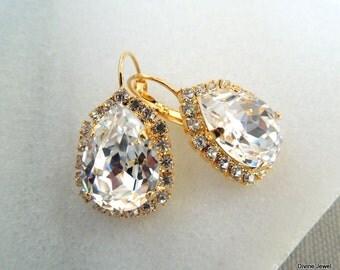 Swarovski Crystal Bridal Earrings Bridal Rhinestone Earrings Dangle Earrings Statement Bridal Earrings Wedding Crystal Earrings HATTIE
