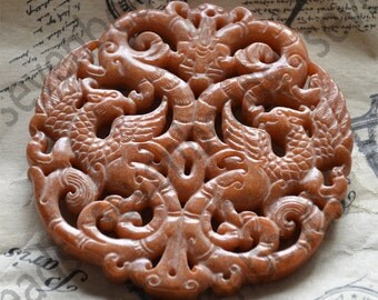 Double Side face carved Phoenix and dragon Chinese jade Flower Long Life Card pendant Bead Gemstsone,Amulet Talisman jade pendant findings