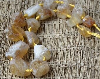 Single Natural Citrine Rough Nugget Chunks matte beads,Citrine stone beads,nugget stone beads loose strands