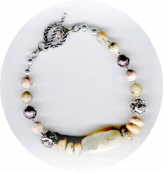 STUNNING Moss Opal - Crazy Lace Agate Gemstone & Bali Silver Bracelet