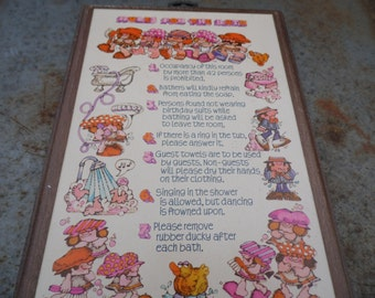 """Rules for the Bath vintage whimsical wall plaque with hanger Singing in the shower is allowed but dancing is frowned upon 8 1/2 by 6"""""""