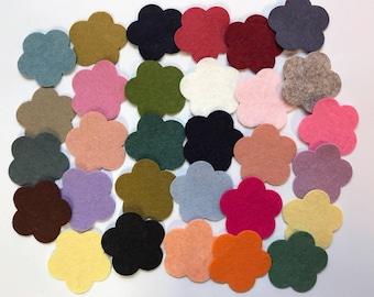 Wool Felt Flower Die Cut - 30 total - Random Colored 3018 - headband supplies - flower crown - DIY crafts - Kids Crafts - Hair clip supply