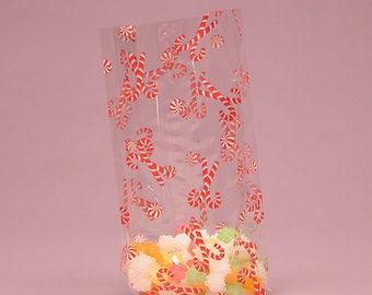 25 -  4 X 2-1/2 X 9-1/2 Candy Cane CELLO BAGS