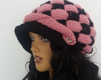 Black and Pink Slouchy Newsboy Cap -Button- Handmade-Knitted newsboy brimmed slouch hat