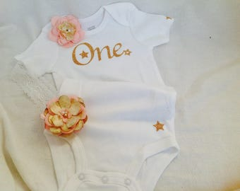One Baby Onesie. Gold Glitter First Birthday Onesie. Baby Shirt. Twinkle twinkle