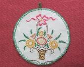 Vintage Hand Embroidered Floral Basket Hot Pad Pot Holder Kitchen Helper