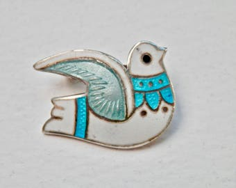 Margot de Taxco Enamel Dove Brooch Signed Mexican Silver 1950s Taxco Mexico Sterling Silver Modernist Mexican MidCentury Vintage Mexican 925