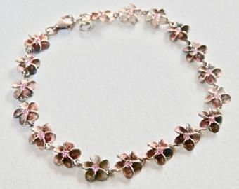 Daisy Charm Bracelet Sterling Silver Flower Jewelry Pink Rhinestone Flower Bracelet Summertime Jewelry Matte Silver Bracelet Sterling 925