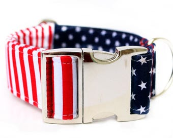 Extra Wide Dog Collar Red White and Blue Dog Collar Memorial Day Dog Collar 4th of July Dog Collar Labor Day Dog Collar Metal Buckle Collar