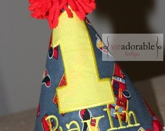 Firetruck First Birthday Hat, FREE MONOGRAMMING, Fireman Birthday Theme, Smash Cake Photo Prop, Appliqued Birthday Hat, Monogrammed Birthday