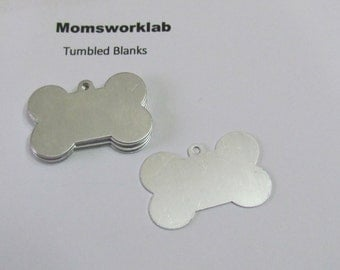 Dog Bone Blanks//Aluminum tags// 20 G Aluminum//tumbled blanks//pet tags//pet blanks//metal stamps//hand stamping supplies