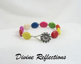 Multi Color Bracelet, Oval Gemstone Bracelet, Magnesite Gemstone Bracelet
