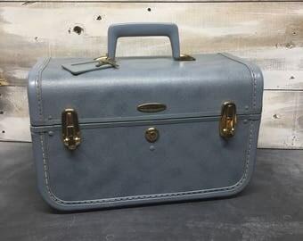 Vintage Taperlite Suitcase, Taperlite Train Case, MakeUp Bag, MakeUp Case, Blue Luggage