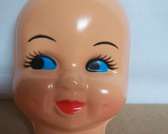 "Large Vintage ""Dimple Face"" Plastic Doll Face Mask"