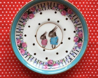 Shy Bunny Mum and Baby with Dots and Floral Edge Illustrated Vintage Plate