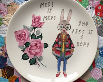 More is More, Less is a Bore Iris Apfel Bunny with Roses Vintage Illustrated Plate