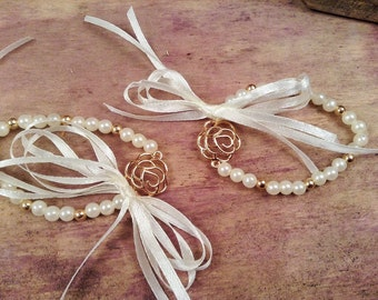 Bachelorette Bracelets 10pcs-Flower Bracelets- Wedding Bracelet- Wedding Favors-Bridesmaids Gift-Infinity Love Bracelet